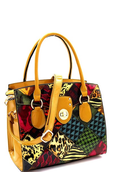 Turn-lock Animal Prt Patchwork Structured Satchel
