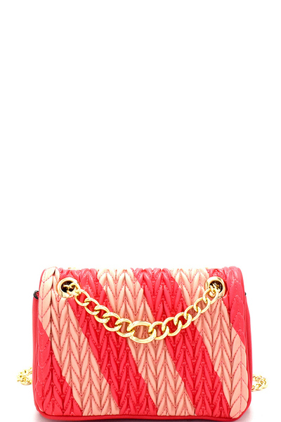 Two-Tone Asymmetrical Striped Chain Shoulder Bag