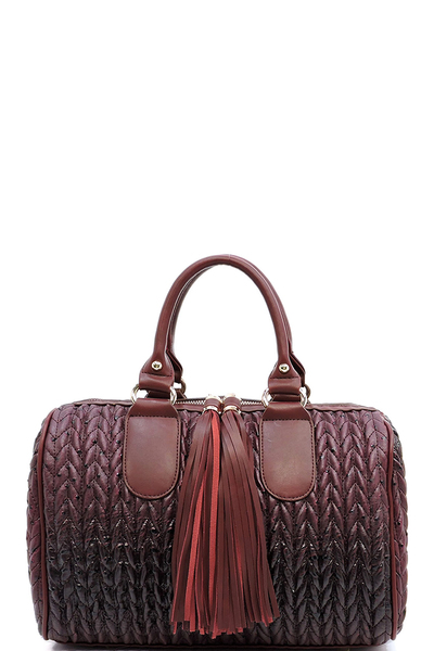 Ostrich Chevron Quilted Tassel Zipper Boston Bag Satchel