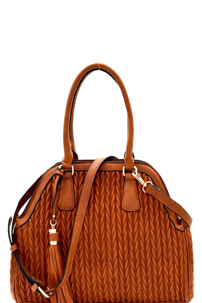 Tassel Accent Chevron Quilted 2-Way Satchel