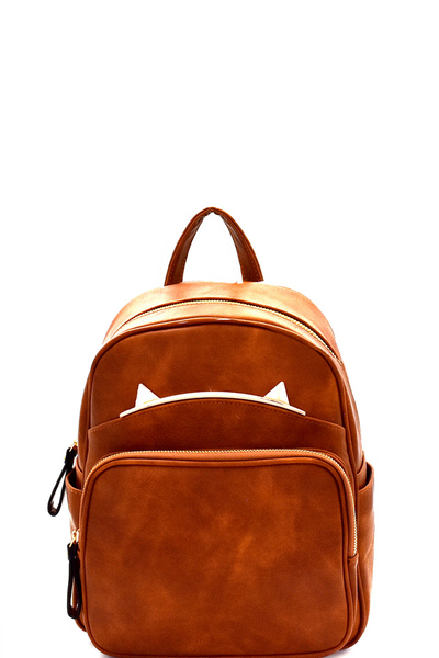 Cat Ear Hardware Accent Multi-Pocket Backpack