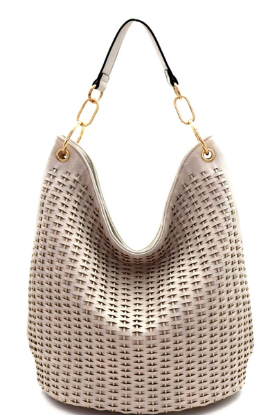 Woven Accent Chain Decorated Single Strap Hobo