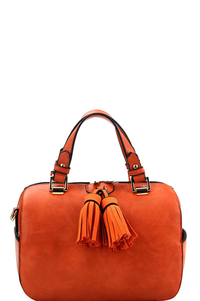 Double Tassel Accent 2-Way Boston Satchel