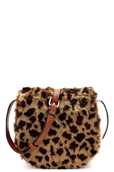 Faux-Fur Animal Print Flap Messenger Shoulder Bag