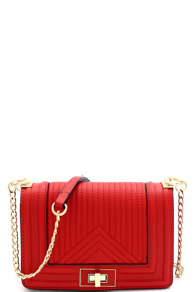 Turn-Lock Accent Quilted Flap Chain Shoulder Bag