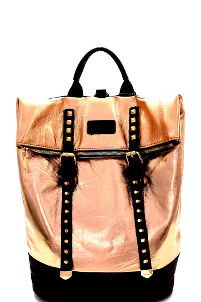 Stud Accent Metallic Fold-Over Fashion Backpack