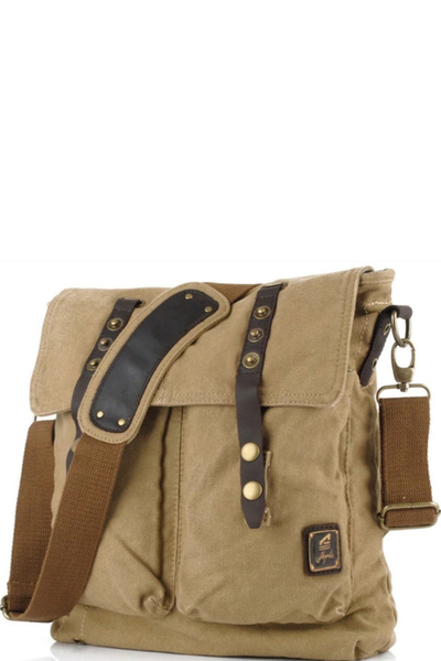 VINTAGE INSPIRED CANVAS SHOULDER BAG