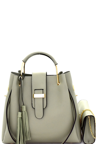 Tassel Metal Handle Accent 3 in 1 Satchel SET