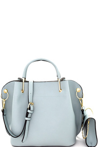 Metal Handle Accent 3 in 1 Satchel Value SET
