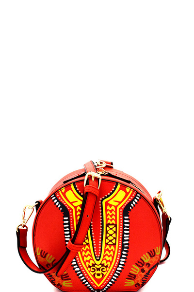 Wrist Handle Accent Ethnic Print Round Shoulder Bag