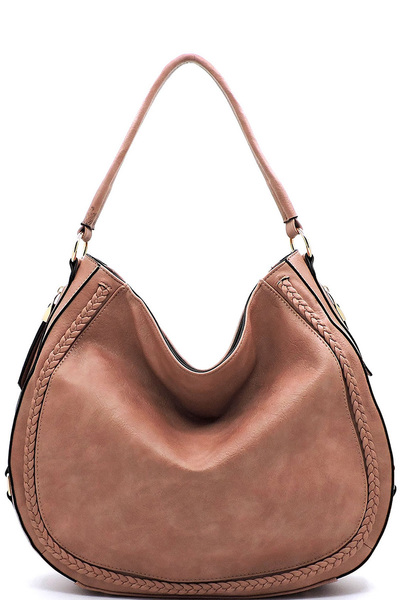 Whipstitch Zipper Hobo Concealed Carry Handbag