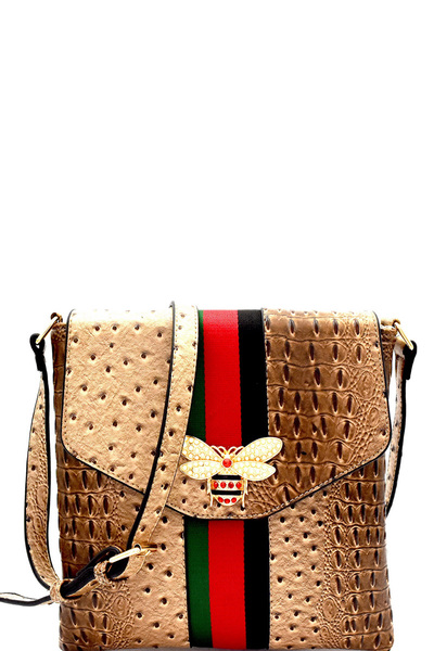 Bee Charm Color Block Striped Ostrich Cross Body