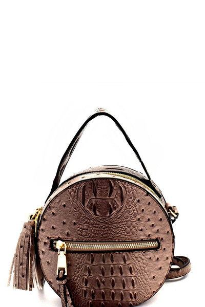 Ostrich Embossed Round Shoulder Bag