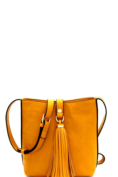 Tassel Accent Bucket Cross Body Shoulder Bag