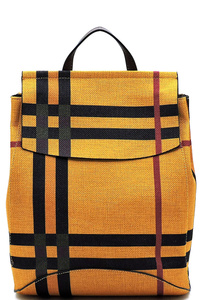 Plaid Check Linen Backpack