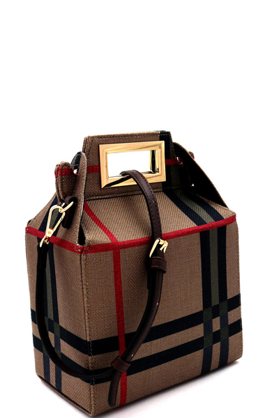 Checker Plaid Print Linen Metal Handle Boxy Satchel
