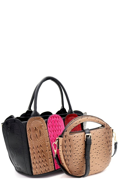 Ostrich Print Color Block Patchwork 2 in 1 Satchel