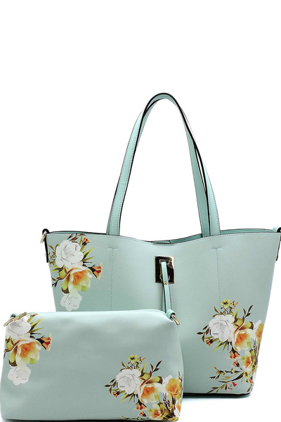 Flower Printed 2-in-1 Shopper