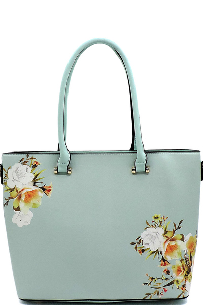 Flower Printed Top Handle Satchel