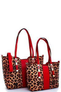 2IN1 LEOPARD TWO TONE SATCHEL SET WITH LONG STRAPS