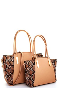 2IN1 PYTHON TWO TONE SATCHEL SET WITH LONG STRAP