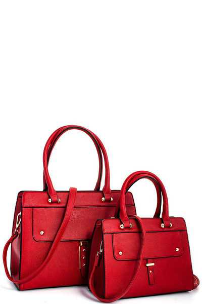 2IN1 TRENDY MODERN SATCHEL SET WITH 2 STRAPS