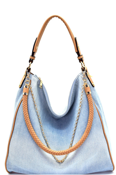 Woven Rope and Chain Decorated Denim Hobo