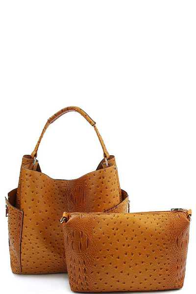 2IN1 CROCO TEXTURED SATCHEL BAG WITH LONG STRAP
