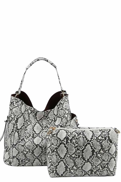 Python Snake Skin 2-in-1 Shoulder Bag Hobo