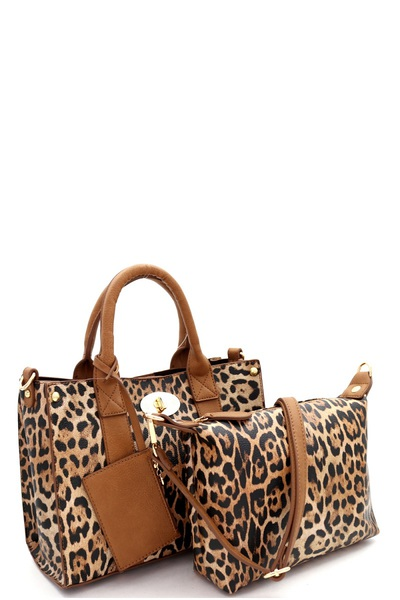 Leopard Print  2 in 1 Medium Satchel Bag