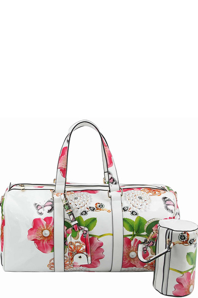 Glossy Flower Printed 2-in-1 Duffle & Makeup Pouch Set