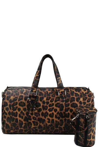 2IN1 LEOPARD OVER SIZE TRAVEL DUFFEL BAG WITH LONG STRAP