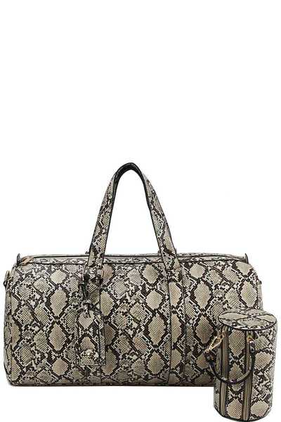 2 IN 1 SNAKE PATTERN OVER SIZE TRAVEL DUFFEL BAG WITH LONG STRAP
