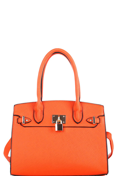 Padlock Accent 2-Way Structured Medium Satchel