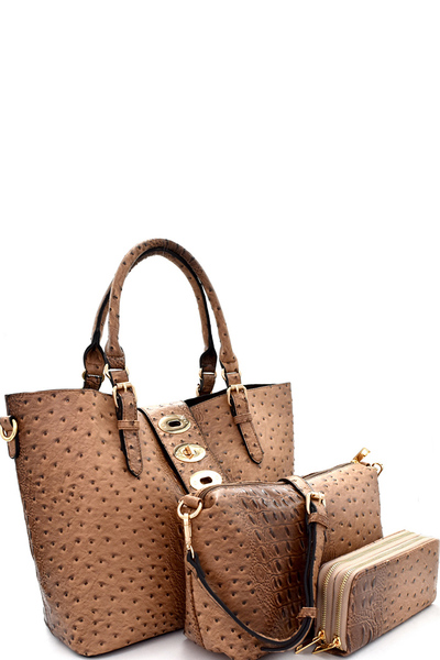 Ostrich Embossed Turn-Lock Accent 3 in 1 Tote Wallet SET