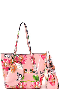 Flower Butterfly Print Patent 3 in 1 Shopper Tote Value SET