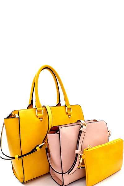 Contrasting Inner Bag 3 in 1 Wing Satchel SET