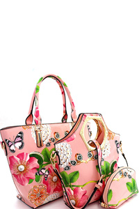 Flower Butterfly Print Patent 3 in 1 Handle Satchel Tote Value SET