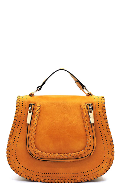 Braided Whipstitch Flap Satchel