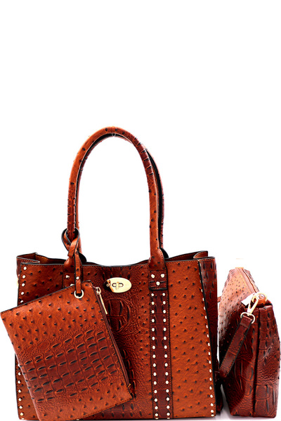 Turn-Lock Accent Studded Ostrich 3 in 1 Tote Value SET