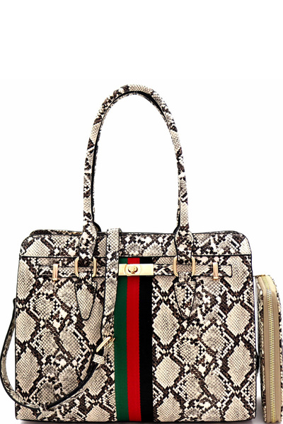 Color Striped Snake Structured Tote Wallet SET