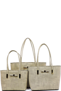 Fashion Bow Textured 3-in-1 Tote Set