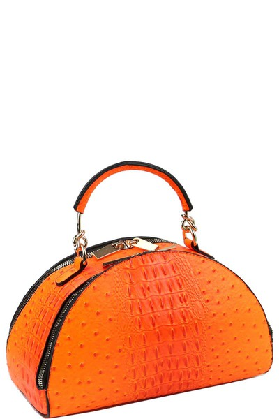 Neon Ostrich Print 2-Way Medium Half-Moon Satchel