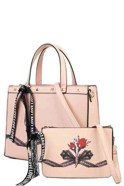 2IN1 DESIGNER TOTE WITH LONG STRAP