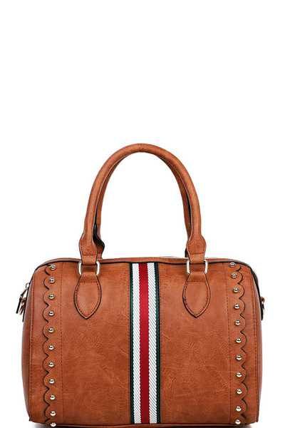 STYLISH MODERN STRIPED BOSTON BAG WITH LONG STRAP