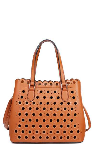 2IN1 CHIC RING HOLLOW STUDDED SATCHEL WITH LONG STRAP