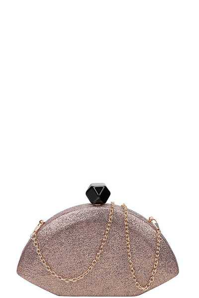 DESIGNER STRUCTURED FAN SHAPE CLUTCH WITH CHAIN