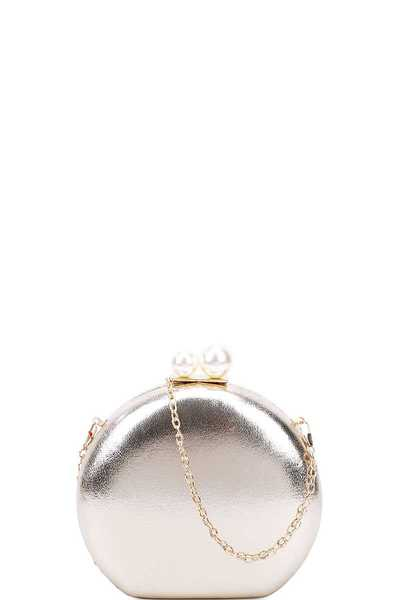 CUTE STRUCTURED DOUBLE PEARL CIRCLE CLUTCH WITH CHAIN