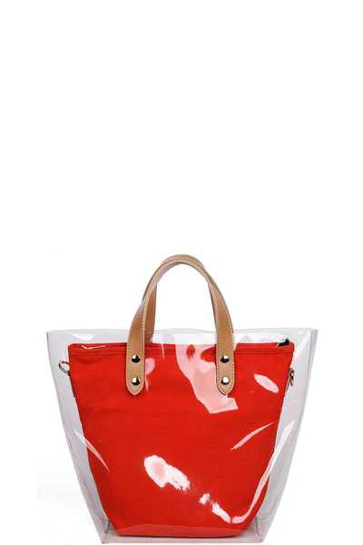 CUTE TRENDY TRANSPARENT OUT LAYER TOTE BAG
