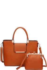 2IN1 TRENDY CLASSIC SATCHEL WITH CROSSBODY BAG SET